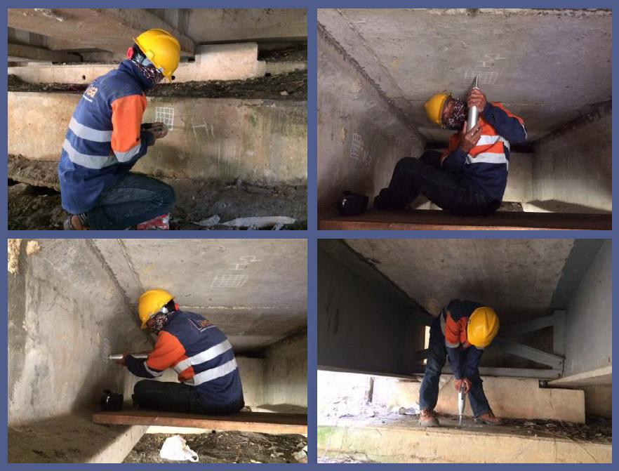 Hammer Test pada Jembatan Amak Kalimantan Barat 2017