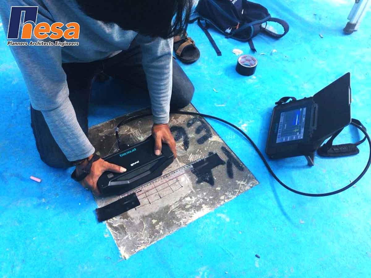 Contoh Penggunaan Alat Proceq PL-200PE dalam proses PULSE ECHO TEST