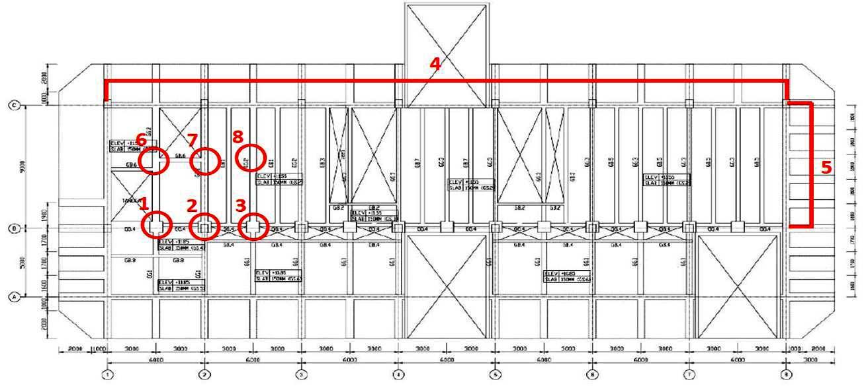 Gambar 4 Lokasi struktur yang dilakukan pengukuran kemiringan