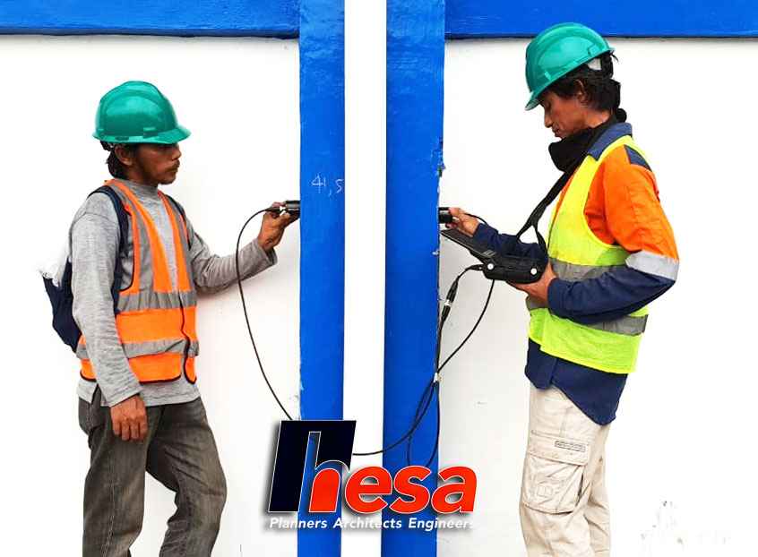 Ultrasonic Pulse Velocity Test UPVT on Factory Pabrik PT Sei Balai Green Energy