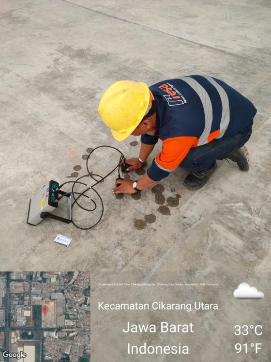 UPV Test Untuk Pemeriksaan Retak Pada Lantai Bangunan